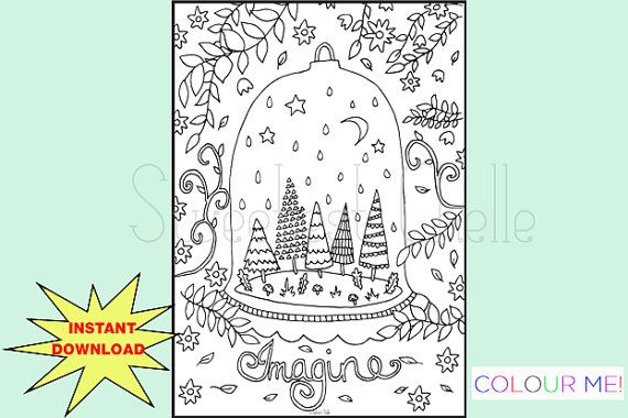 Cute Printable A5 COLORING Page Imagine by SweetestChelle on Etsy