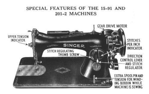 Features of my Singer 15-91 and 201-2 Sewing Machines