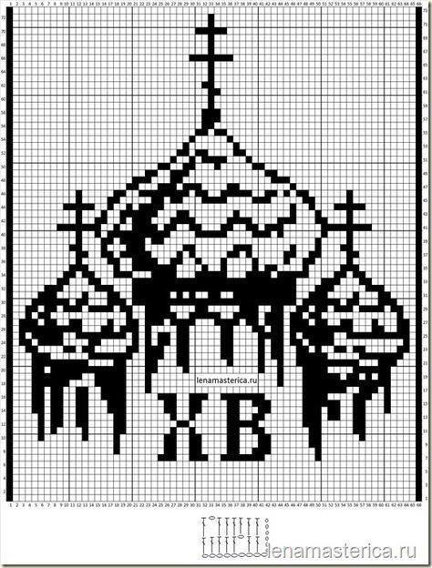 Вязаная пасхальная салфетка, схема 132 петли из расчета 1 клеточка = 2 воздушным петлям Пустая клеточка: столбик с накидом, одна воздушная петля, столбик с накидом  Закрашенная клеточка: три столбика с накидом