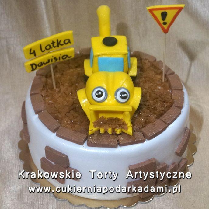 128. Tort z żółtą koparką. Yellow excavator cake.