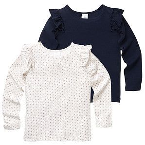 Girls' 2 Pack Frill Long Sleeve Stretch Tops - Navy/White