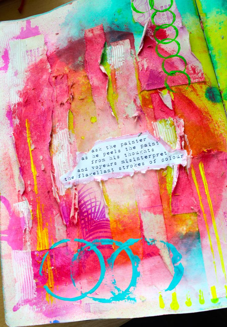 Strips of colored paper ripped up and circles of beautiful colors