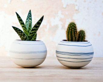 colorful porcelain planter (black/ dark blue stripes). Ceramic planter for, cactus, succulent or air plant. Crafted by Wapa Studio.