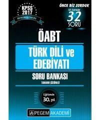 2017 ÖABT Türk Dili ve Edebiyatı Öğretmenliği Tamamı Çözümlü Soru Bankası Pegem Yayınları