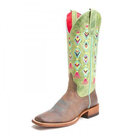 Macie Bean Womens Fiesta No Siesta Square Toe Cowboy Boots Kiwi