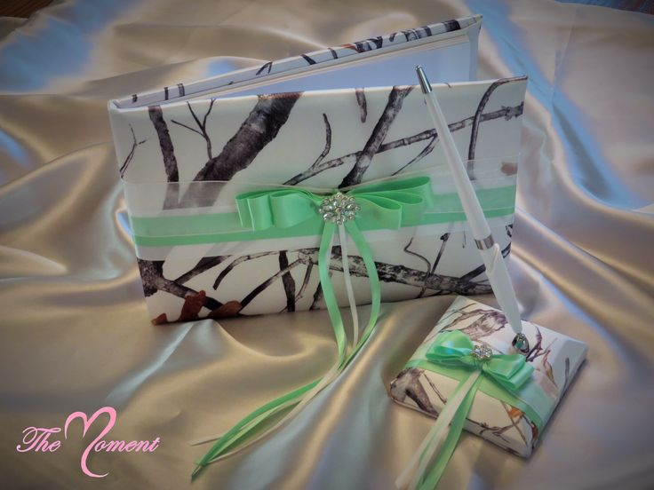 White Snowfall True Timber Camo Guest Book Set with Mint Green