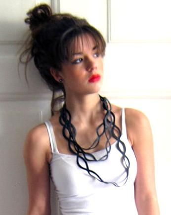 #Upcycled necklace made out of #bicycle inner tubes