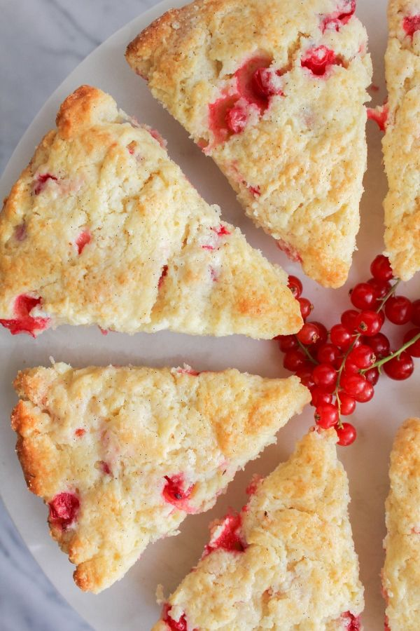 Red Currant Cream Scones | The Chef Next Door.  These sweet and tender Red Currant Cream Scones are perfect for breakfast or afternoon tea!