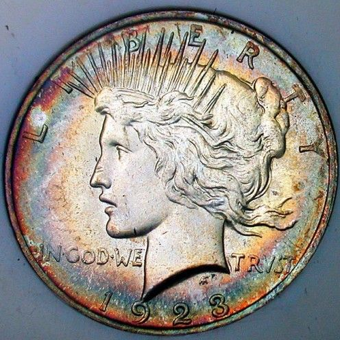 1923 Peace Dollar Obverse Toned. Photo Courtesy: coinpage.com