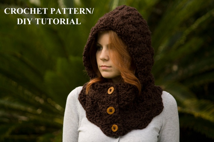CROCHET PATTERN Hooded Cowl Pattern, Button Neck Warmer, Scoodie Pattern, Crochet Hoodie Pattern. $4.00, via Etsy.