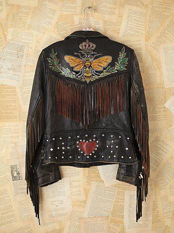 Free People Vintage Melanie Bendavid Hand-Painted Leather Jacket