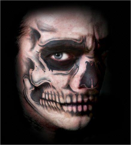 Top Halloween Idea: Skull Facial Temporary Tattoo Kit Applied