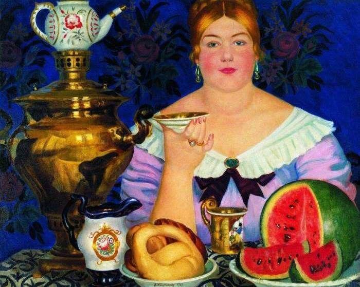 Борис Михайлович Кустодиев (1878-1927) - Купчиха, пьющая чай, 1923