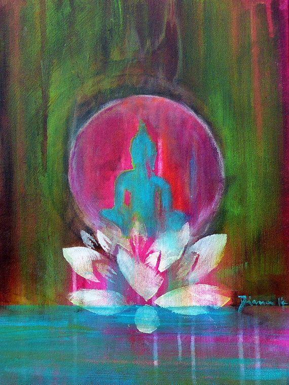 "Buddha ""Spirit of ZEN"" 12 x 16 ""  Buddha Lotus Om Yoga Zen Spiritual Art Meditation Fine Art Print on canvas"