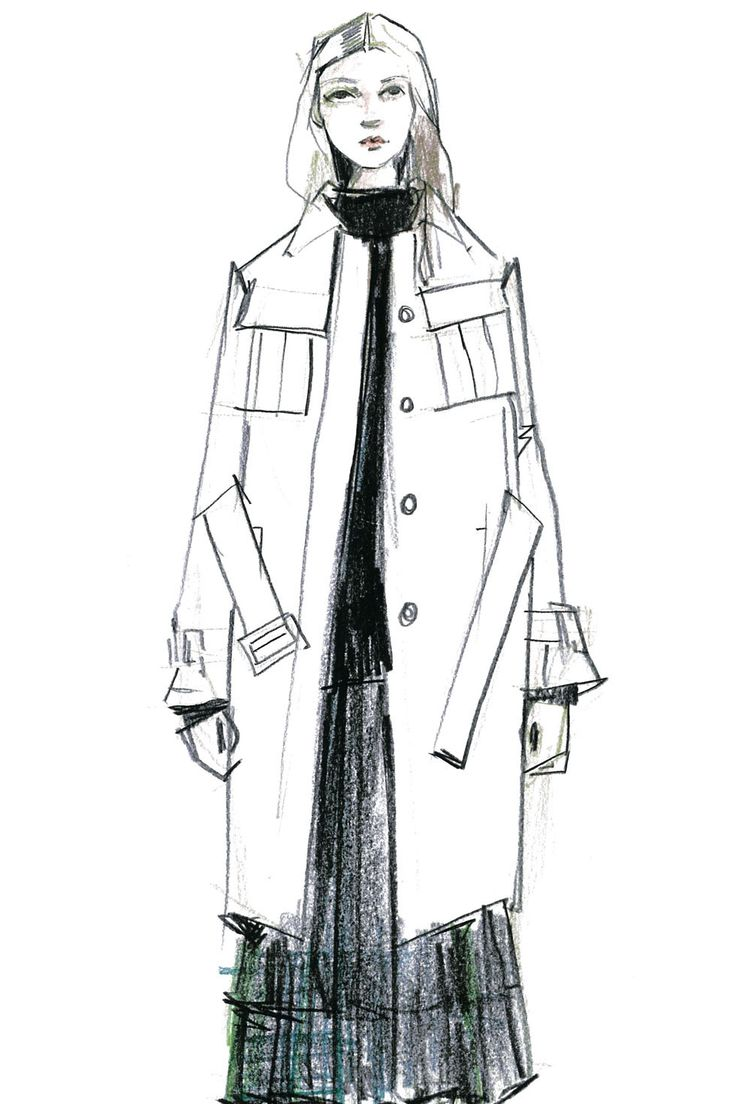Fashion illustration - fashion design sketch for Jil Sander Navy