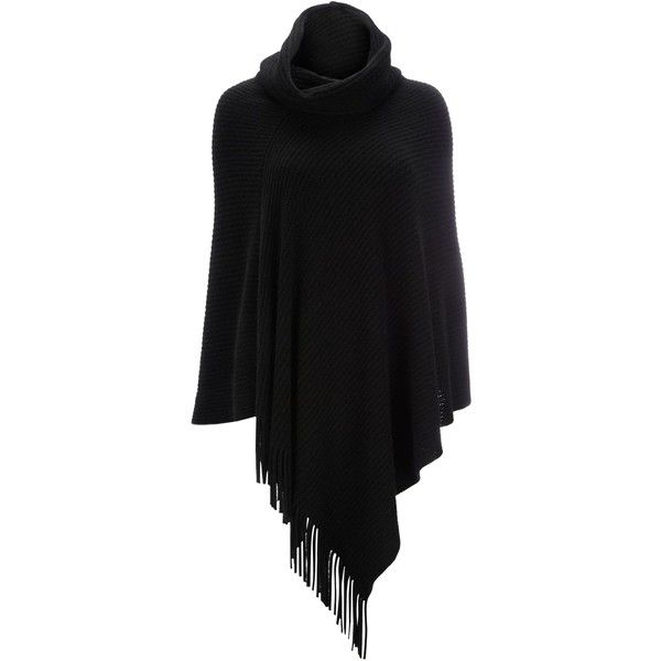 Wallis Black Fringe Rib Poncho ($37) ❤ liked on Polyvore featuring outerwear, cardigans, poncho, black, coats & jackets, women, cape coat, poncho cape, cape poncho and fringed cape