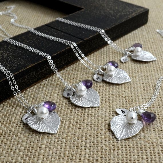personalized bridesmaid gift set-sterling silver-hand stamped monogram initial leaf necklace-pearl-gemstone- gift for friends, sisters ..n47