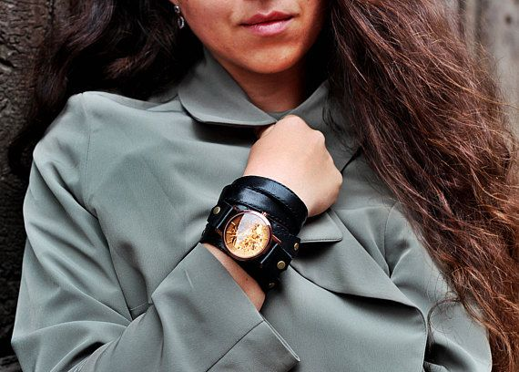 Women watches rose gold watch strap leather watch black