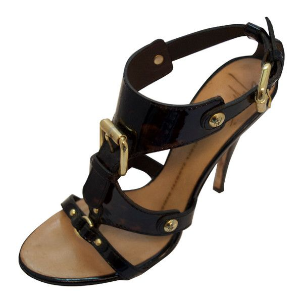 Pre-Owned Giuseppe Zanotti Brown Tortoise Strappy Sandal With Gold... ($311) ❤ liked on Polyvore featuring shoes, sandals, brown, strappy high heel sandals, gold shoes, high heel shoes, gold strappy shoes and strap sandals