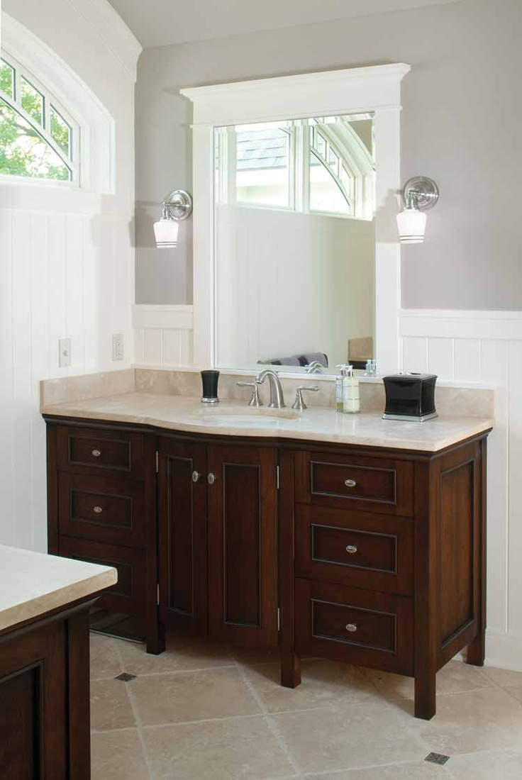 Wall Color And White Wainscot Dark Cabinet Light