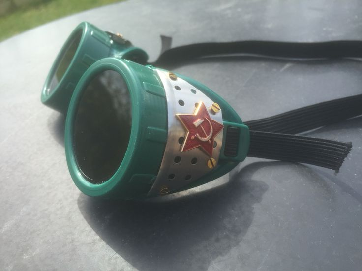 Handmade Steampunk goggles with authentic vintage WWII Soviet Union insignias