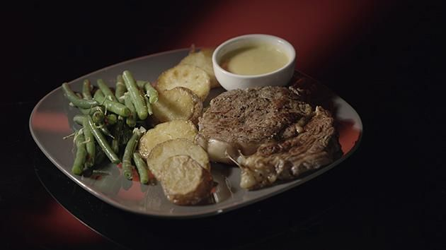 Steak with Duck Fat Potatoes, Green Beans and Bearnaise Sauce