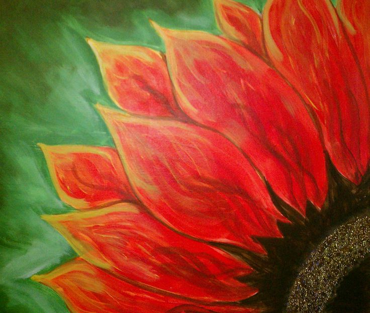 paint flowers and heart in acrylic paint on canvas with