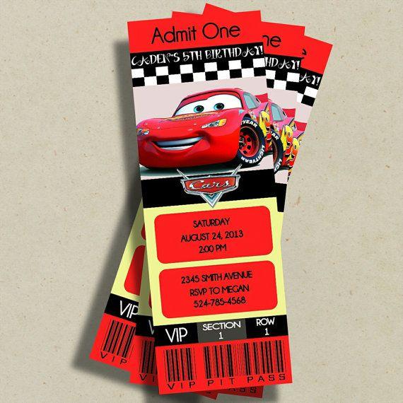 Disney Pixar Cars Birthday VIP Ticket by KennedyLaneDesigns