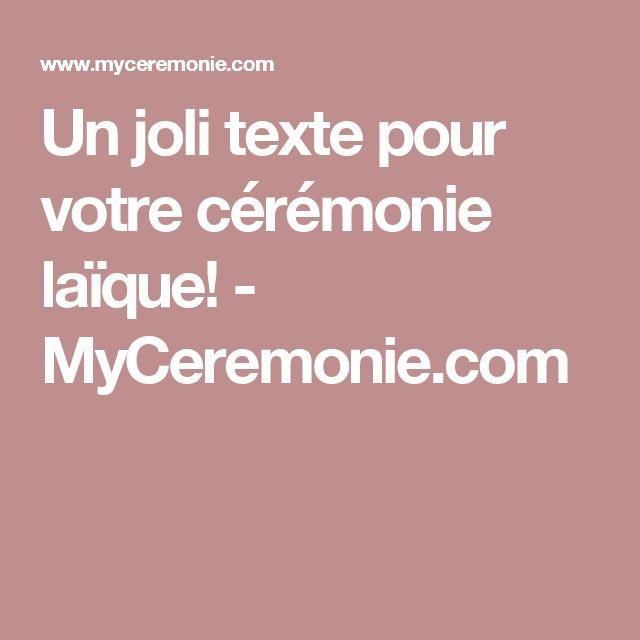 Un joli texte pour votre cérémonie laïque! - MyCeremonie.com