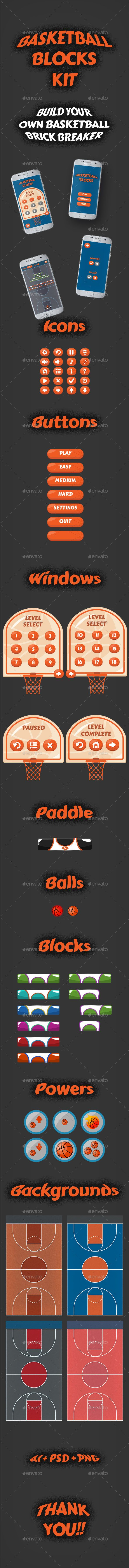 #Basketball Brick Breaking Game Kit - Game Kits #Game Assets Download here: https://graphicriver.net/item/basketball-brick-breaking-game-kit/19655091?ref=alena994