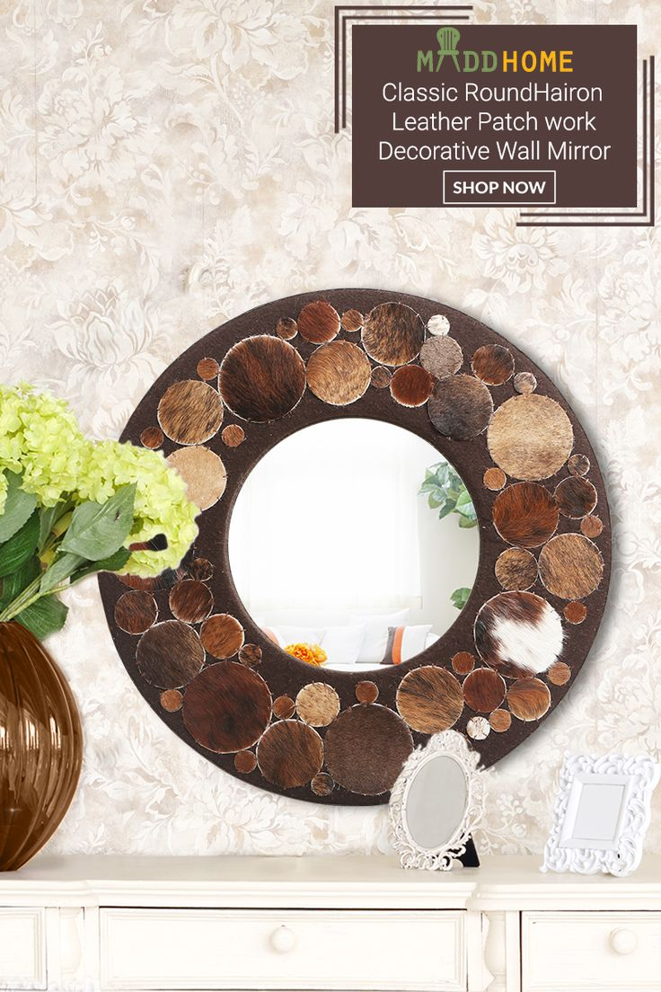 Rounded Hairon Leather wall mirror.
