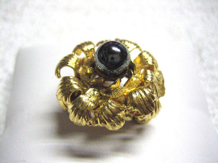 VINTAGE 14K YELLOW GOLD HEMATITE GEMSTONE WOMEN'S COCKTAIL RING SIZE 6