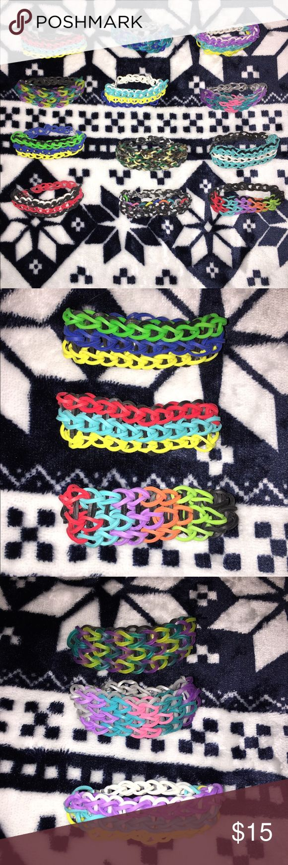 12 Multicolored TripleSingle Rubber Band Bracelets Homemade, no flaws! All are relatively the same size, but can be made bigger if needed! Fits about a 6inch wrist! Jewelry Bracelets
