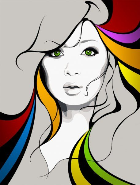 """""""Hint of Mondrian"""" coloring in this sleek vector illustration"""