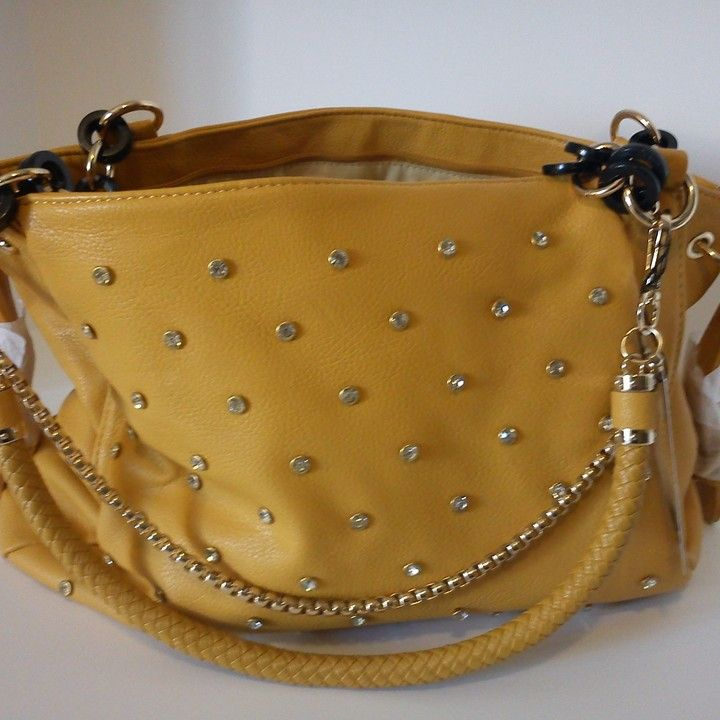 Crystal studded tan hand bag from Country Casual Clothing Company for $42.99 on Square Market