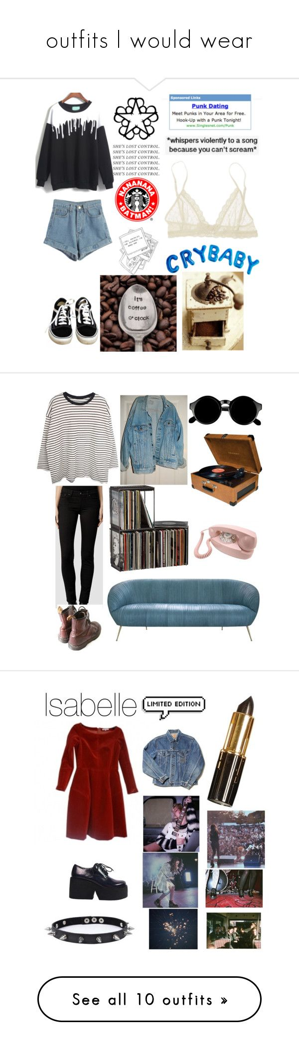 """outfits I would wear"" by llamapoop ❤ liked on Polyvore featuring Vans, WithChic, ...Lost, Eberjey, Blink, AllSaints, Levi's, CB2, Retrò and Crosley"