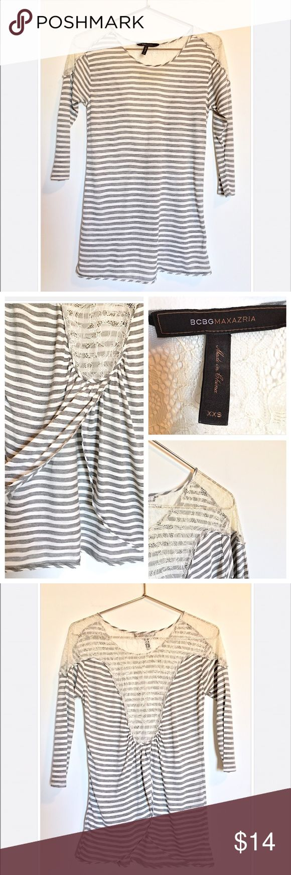 "BCBGMaxAzria Stripe + Lace 3/4"" Sleeve Top BCBGMaxAzria Gray + White Stripe Top//Lace + Open Back Detail//3/4"" Sleeve//Size XXS//In Great Condition + Only Worn Once👍🏻//Let me know if you need add'l info or pics! BCBGMaxAzria Tops Blouses"