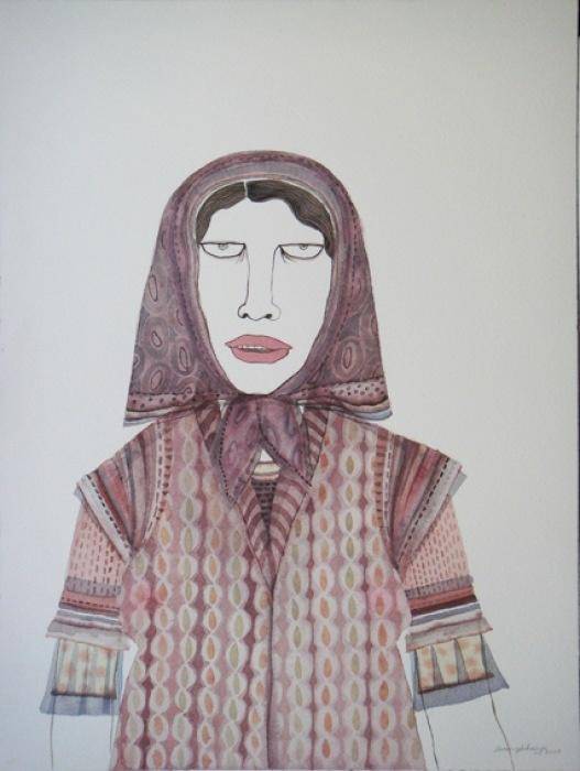 Dhruvi Acharya, Woman in Scarf VIII, Watercolor on Paper, 45 x 30 cm