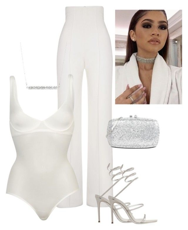 """Untitled #112"" by zivapersonalshopping ❤ liked on Polyvore featuring Yves Saint Laurent, Wolford, René Caovilla and Love Moschino"