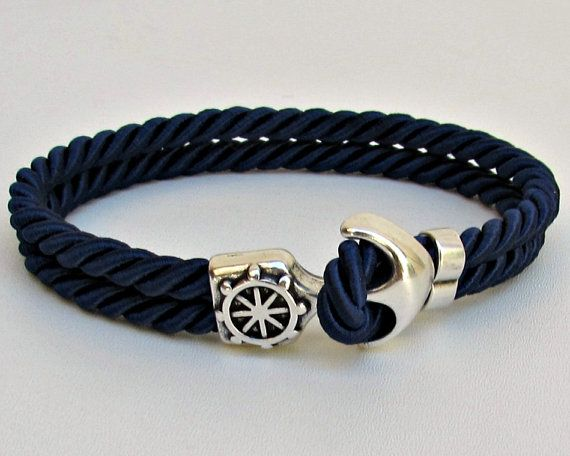 Mens Anchor Bracelet Nautical Rope bracelet Cuff  by GUSFREE