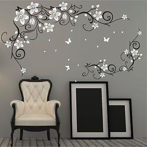 Farfalla-Vite-Fiore-Adesivi-In-Vinile-Muro-Parete-Arte-Da-Muro-Decalcomania