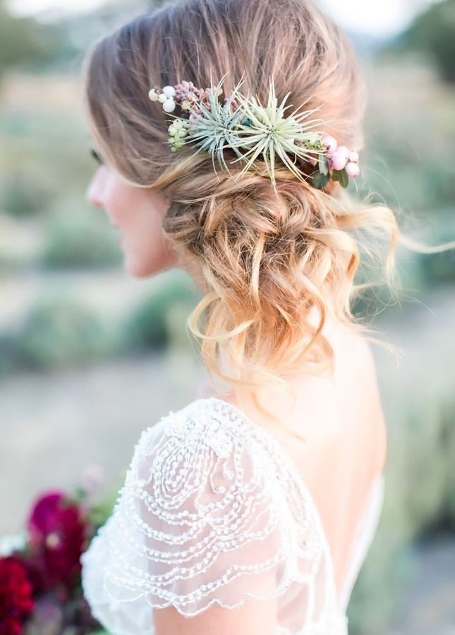 Add some succulents to your wedding day hair.