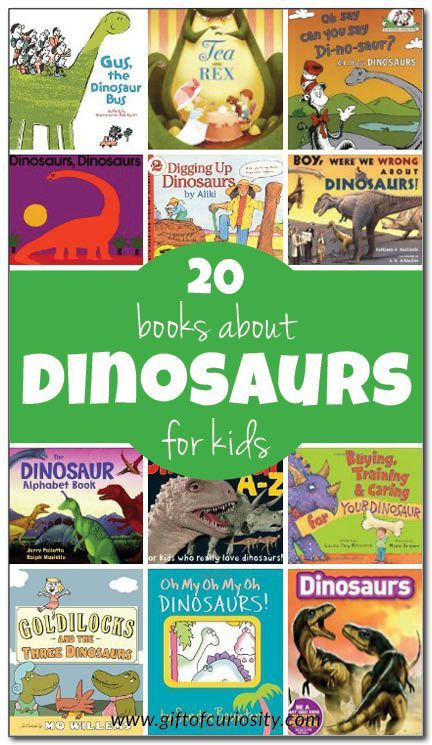 20 books about dinosaurs for kids, with reviews and suggested ages. Includes both fiction and non-fiction books about dinosaurs. || Gift of Curiosity