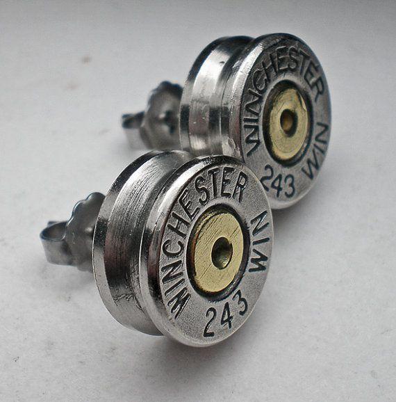243 Winchester Nickel Bullet Head Stud Post by wildwestjewelryshop, $17.99