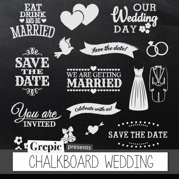 "Chalkboard clipart wedding: Digital clipart ""CHALKBOARD WEDDING"" pack with chalkboard save the date, getting married banners and invitations"