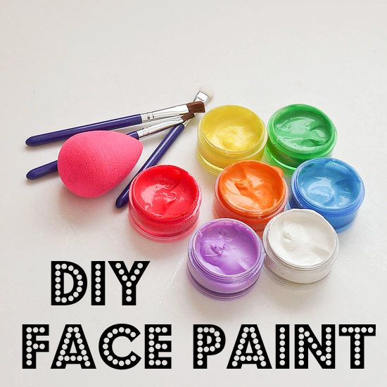 Make your own face paint! equal parts corn starch and face lotion (thick) then add 1/4 tsp vegetable oil to make smooth. add small amounts of washable paint to create your color.