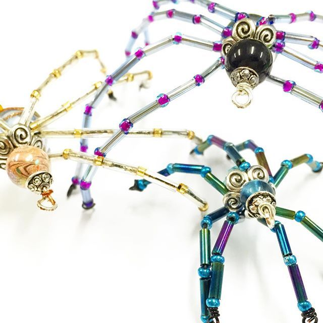 Learn how to make these beaded creepy crawlers! Message us to sign up for our upcoming workshop! #Spider