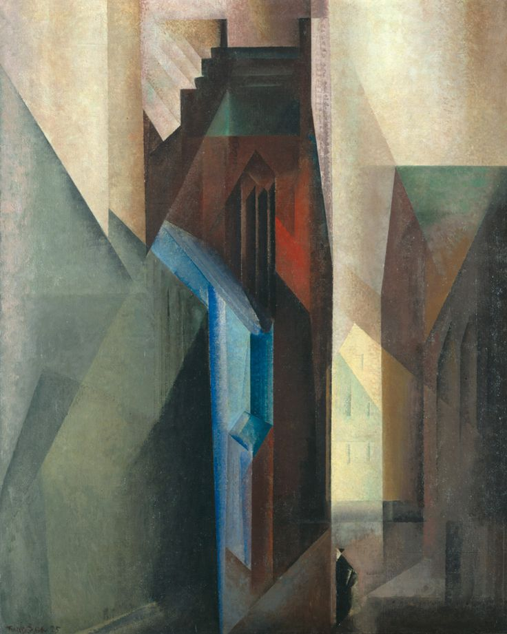 – Torturm II, 1925 - Staatliche Kunsthalle Karlsruhe.  Lyonel Feininger (1871–1956) moved at the age of sixteen to Germany from NY, where he became one of the leading practitioners of German Expressionism and the Bauhaus. In the late 1930s, when the Nazi campaign against modern art forced him to flee back to New York. Long acknowledged as a major figure of the Bauhaus, Feininger is renowned for his romantic, crystalline paintings of architecture and seascapes
