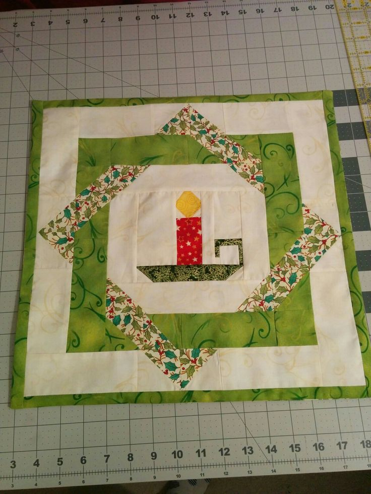 Christmas Candle Quilt Block. Christmas Pillow cover.