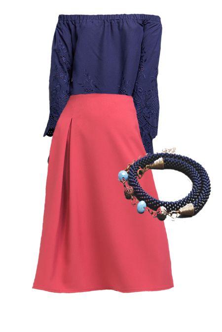 Мини образ с розовой юбкой и синей блузой  купить за 1223 грн. в интернет-магазин Stilecity  ✔ Лучшие цены ☆ Создайте свой собственный образ ♡ #Stilecity, новый капсульный гардероб на каждый день. Образ содержит: кофта юбка браслет